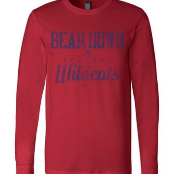 Official NCAA Venley University of Arizona Wildcats U of A Wilber Wildcat BEAR DOWN! Long Sleeve T-Shirt - 30ua-1