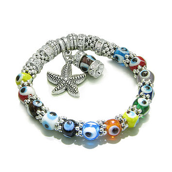 Amulet Evil Eye Protection Sea Star Cute Purple Dangling Charm Multicolor Eye Beads Cute Crystals Beads