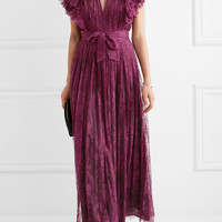 Philosophy di Lorenzo Serafini - Open-back ruffled plissé-lace dress