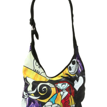 The Nightmare Before Christmas Jack Sally Stained Glass Hobo Bag