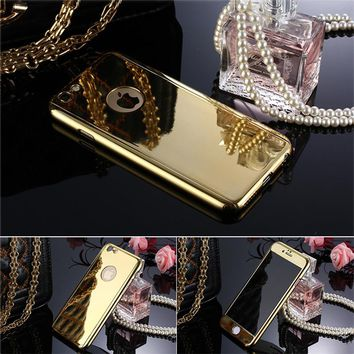 Luxury Armor Case For iphone 7 6 6s 5 5s SE Funda 360 Full Body Protection Phone Cases Hard Mirror Plating PC Cover + Glass Film