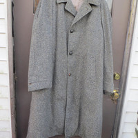 Vintage 50s Wool HOUNDSTOOTH Overcoat Mens\ Made USA Burleigh overcoat specialists  zip out lining  size 48