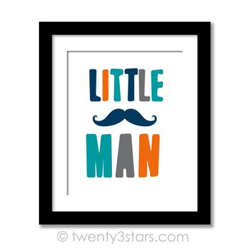 Little Man Boy's Room Wall Art - Choose Any Colors - twenty3stars