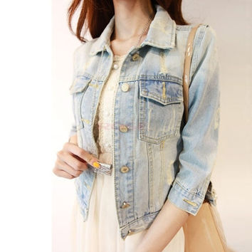 Fashion Women Jacket Spring Short Denim Jean Short Jackets Women Vintage Outerwear Jacket SV004753|41001