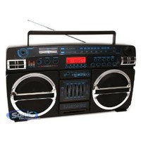 Lasonic i-931BTQ (i931-BTQ) Black and Chrome Bluetooth Portable Stereo w/ Classic Ghetto Blaster Design - Limited Edition (iPhone, iPod, iPad, Android Compatible)