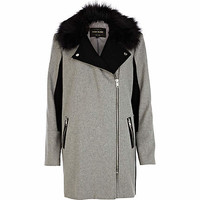 Grey faux fur collar two-tone biker coat