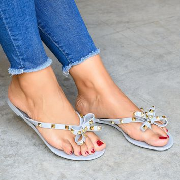 Bow Studded Grey Jelly Sandals