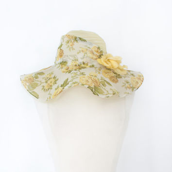20s Downton Style Hat. Sheer Floppy Floral. Yellow. SM MED. 21 inch // Beautiful, Romantic Vintage Accessories // Victorian Garden Party