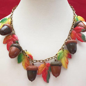 Leaf Acorn Bib Necklace - Early Vintage Plastic - Fall  Autumn Leaves - Yellow orange Brown - Brass chain
