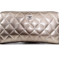 Gold Patent Leather Quilted Wallet