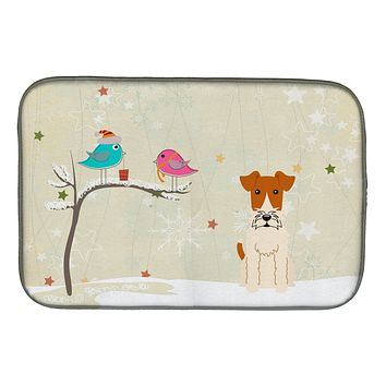 Christmas Presents between Friends Wire Fox Terrier Dish Drying Mat BB2573DDM