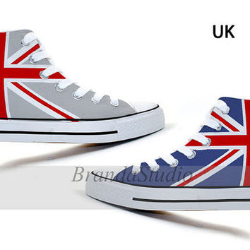 UK Flag Union Jack Hand Painted Canvas Sneakers by Brandastudio