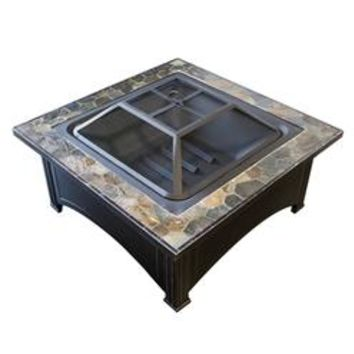 FT-51133D Wood Burning Fire Pit with Square Slate Table (FT51133D) - Sears