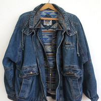 Vintage 80s Men's Denim Bomber Jacket with Navajo Flannel Lining