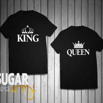 King and Queen t-shirts, couples shirts, king queen shirts with crown, queen king matching shirts, king queen tees, matching shirts couplesh