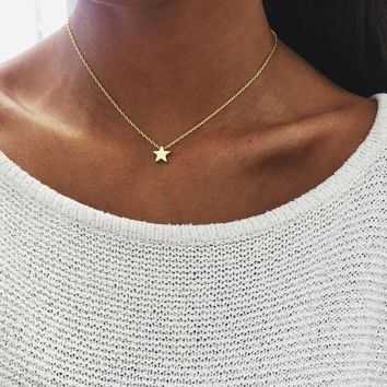ac NOOW2 2017 New Women chocker gold Silver Chain star heart choker Necklace Jewelry collana Kolye Bijoux Collares Mujer Collier Femme