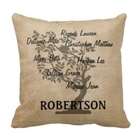 Personalized Family Tree Burlap Add 7 Names