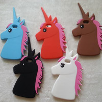 "Fashion 3D Cute Cartoon Unicorn Soft Silicon Rubber Case Cover For iPhone 4 4s 5 5s SE 6 7 6s plus 7 plus 4.7/5.5"" White Horse"