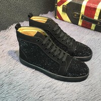 Best Online Sale Christian Louboutin CL Louis Strass Bling Blin Black Men's Women Flat Shoes Boots