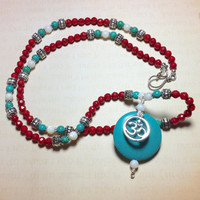 Tibetan Inspired Om Yoga Necklace with Red Coral, Turquoise Howlite, Mother of Pearl - Peace & Wisdom -