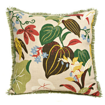 Canaan Company P-474-N 20x20 Suede Fringe Trim Accent Pillow