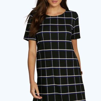 Liz Check Cap Sleeve Shift Dress