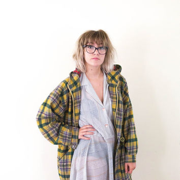 vtg thick yellow plaid wool jacket, womens outerwear, vintage 80's 90's, tumblr american apparel soft grunge vaporwave aesthetic fashion