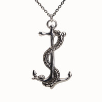 Octopus Tentacle Anchor Necklace Sterling Silver Charm Pendant Boho Jewelry - FPE022 T1