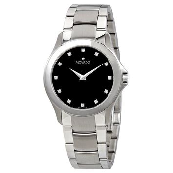 Movado Masino Black Dial With Diamonds Mens Wartch 0606185