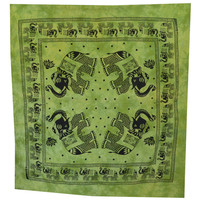 Elephant Mandala Tapestry, Hippie Wall Hanging, Indian Bohemian Tapestry, Gypsy Bed Cover, Elephant Wall Hanging, Green Queen Bed Sheet