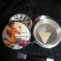 Pin Up Fuc* It Im Gettin High 4 Piece Herb Grinder Pollen Screen and Catcher from Cognitive Fashioned