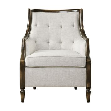 Barraud Traditional Light Taupe Tufted Wood Frame Accent Chair by Uttermost