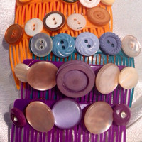 Vintage Button Bright Hair Combs in Red, Yellow, Teal, and Purple