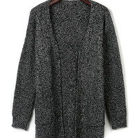 Gray Pocket Front Slit Back Knit Cardigan