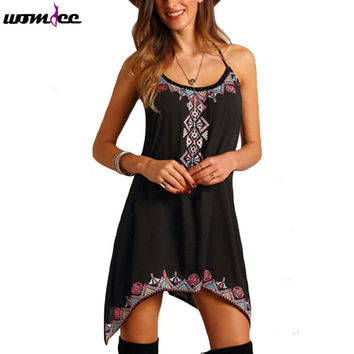2017 New Women's Sexy Summer Ladies Spaghetti Strap Mini Dress Tunic Women Printed Sleeveless Party Summer Beach Loose Short
