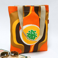 Retro Shopping Bag  - colorful  reusable grocery Tote - Handmade with Love from Vintage Fabrics