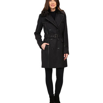 Tommy Hilfiger Wool Belted Trench with Faux Fur