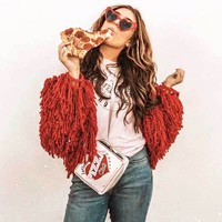 BOHO INSPIRED women Cropped Shaggy Knit Cardigan loop knit sweaters long sleeve chic sweater for women warm autumn winter top