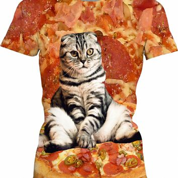 Pizza Cat Womens T-Shirt