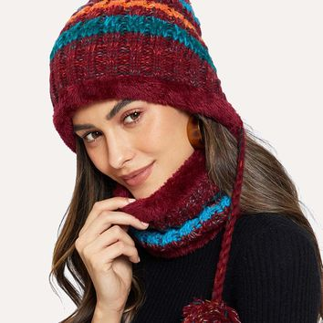 Pom-Pom Decorated Hat With Fluffy Neck-Warmer Set 2pcs