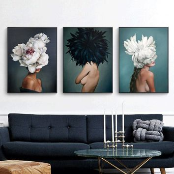 Modern minimalist sexy girl feather characters abstract posters and prints wall art canvas painting living room decoration