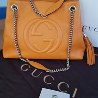 Gucci Womens Soho Orange Leather Shoulder Bag good as NEW