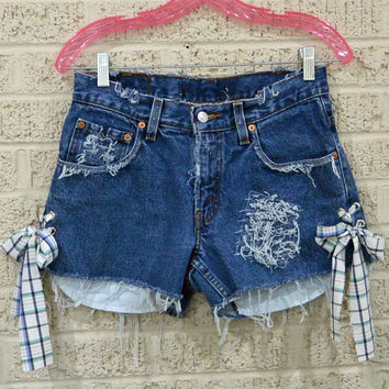 destoyed & frayed UPCYCLED Denim SHORTS / Side Lace Up Levi cutoff shorts / custom patched denim cutoffs Size 30 Waist