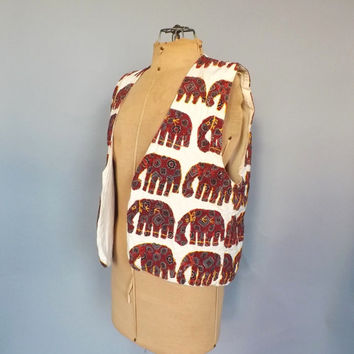 Vintage Retro India Cotton Elephant Embroidered Vest Print Top Shirt Boho Ethnic Vest Hipster Size Small Indian Hippie Vest