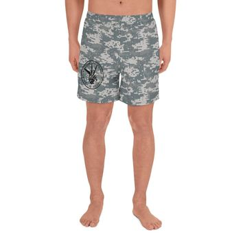 Come In Peace or Leave in Pieces Camouflage Men's Athletic Shorts