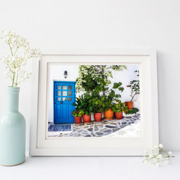 Greece print, blue door, Greek home, cobblestone, travel photography, white wash building, architecture, flower pots, wall art, home decor