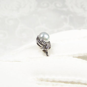 Vintage Sterling Silver Iridescent Grey Pearl Solitaire Ring