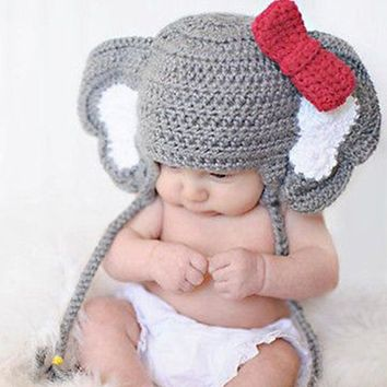 Crochet Wool Elephant Bow-Knot Hat  Newborn 0-6M