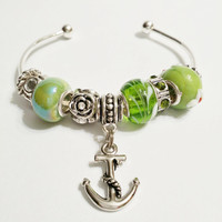 Green Lampwork Anchor Charm Cuff Bracelet - Green Open Bangle Bracelet - Open Cuff Bracelet - Nautical Bracelet - Nautical Cuff Bracelet