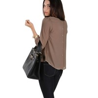 Promo- Taupe Faux Button Back Top